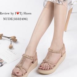 รองเท้าแตะรัดส้น ส้นขนมปัง สายรัดยางยืด ใส่กระชับเท้า (สีชมพูนู๊ด )