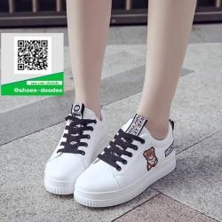 รองเท้าผ้าใบแฟชั่นสีขาว กรีนนูนหมีmoschino (สีขาว )