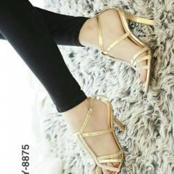 รองเท้าส้นสูงรัดส้น สไตล์YSL (สีทอง )