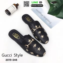 รองเท้าเปิดส้น สไตล์แบรนด์ GUCCI 2015-246-BLK [สีดำ]