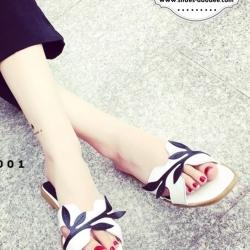 รองเท้าแตะเปิดส้นสไตล์แบรนด์ดังH (สีขาว)