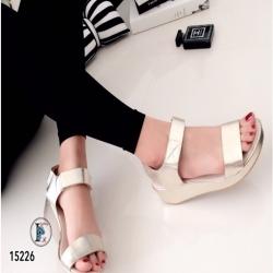 รองเท้าแตะส้นเตารีดแบบรัดข้อเท้า (สีทอง )