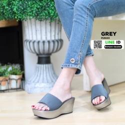 รองเท้าส้นเตารีดแบบสวม PU6103-GRY [สีเทา]