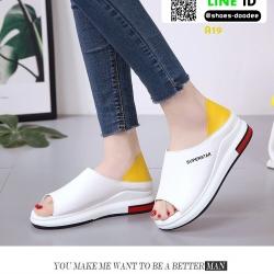 รองเท้าส้นเตี้ยรหุ้มส้น เปิดหน้า A19-YEL [สีเหลือง]