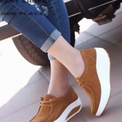 รองเท้าผ้าใบเสริมส้น เพื่อสุขภาพ แนววินเทจ (สีน้ำตาล )