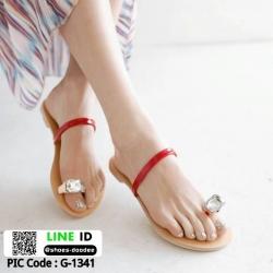 รองเท้าแตะเพชร สวมโป้ง G-1341-RED [สีแดง]