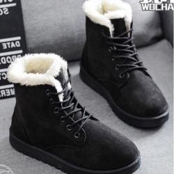 รองเท้าบูทหนัง ใส่เดินหิมะ หน้าหนาว (สีดำ )