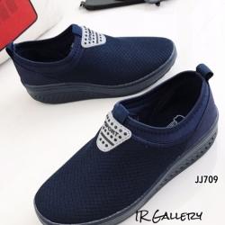 รองเท้าผ้าใบเสริมส้น เพื่อสุขภาพ ผ้าตาข่ายสังเคราะห์ แต่งโลโก้Sport (สีกรม )