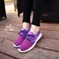 รองเท้าผ้าใบแฟชั่นสีม่วง ผ้านิ่ม ทรงสปอร์ต (สีม่วง )