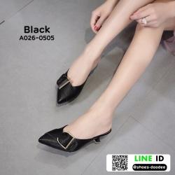 รองเท้าหัวแหลมเปิดส้น หน้าแต่งเข็มขัด A026-0505-BLK [สีดำ]