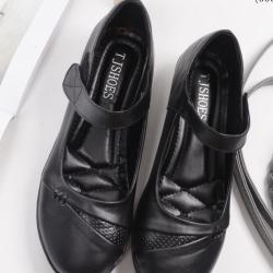 รองเท้าเพื่อสุขภาพ หนังนิ่ม ใส่สบาย สายรัดเมจิกเทป (สีดำ )