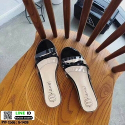 รองเท้าส้นเตี้ย พลาสติกใส คาดโบ G-1439-BLK [สีดำ]