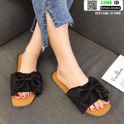 รองเท้าแตะผ้าซาติน แต่งโบว์ G-1409-BLK [สีดำ]
