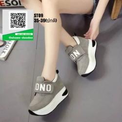 รองเท้าผ้าใบเสริมส้น งานนำเข้า100% ST09-GRA [สีเทา]