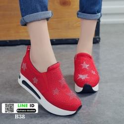 รองเท้าผ้าใบเสริมส้นนำเข้า สไตล์เกาหลี B38-RED [สีแดง]
