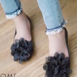 รองเท้าคัทชูสีดำดอกดำ เนื้อซิลินโคน เว้าข้าง แต่งดอกยักษ์ งานนำเข้า ใส่สบายไม่กัดเท้าค่ะ