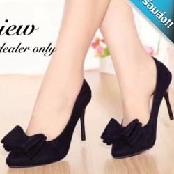 รองเท้าคัทชูส้นสูงสีดำ ส้นเข็ม หัวแต่งโบว์ใหญ่ ทรงสุภาพ เรียบง่าย ดูดี ใส่ทำงาน ใส่แล้วเท้าเรียว แฟชั่นเกาหลี แฟชั่นพร้อมส่ง