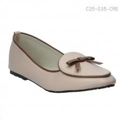 รองเท้าส้นเตี้ย ทรงคัทชู ประดับโบว์น่ารัก (สีแอปปริคอท )