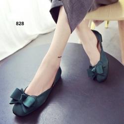 รองเท้าคัทชูส้นเตี้ย หัวตัด แต่งโบว์ (สีเขียว )