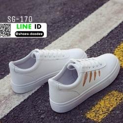 รองเท้าผ้าใบหนัง pu ปักลายใบไม้ SG-170-Yel [สีเหลือง]