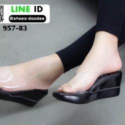 รองเท้าลำลองแบบสวมส้นเตารีด 957-83-BLK [สีดำ]