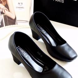 รองเท้าคัทชูผู้หญิง หัวตัด พื้นบุนวม (สีดำ)