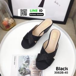 รองเท้าส้นเตารีด หน้าไขว้ กากเพชร 3082B-45-BLK [สีดำ]