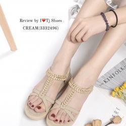 รองเท้าแตะรัดส้น ส้นขนมปัง สายรัดยางยืด ใส่กระชับเท้า (สีครีม )