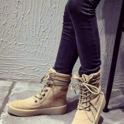รองเท้าผ้าใบหุ้มข้อสีแอปริคอท ผ้าสักหราด แฟชั่นเกาหลี (สีแอปริคอท )