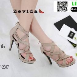 รองเท้าส้นสูงหุ้มข้อ วัสดุผ้านุ่ม 17-2317-CRM [สีครีม]