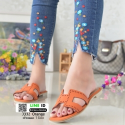 รองเท้าแตะหน้า H J332-ส้ม [สีส้ม]