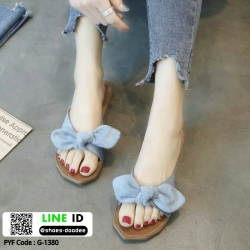 รองเท้าแตะสวมแต่งโบ G-1380-BLU [สีน้ำเงิน]