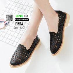 รองเท้าคัชชูฉลุลาย 0594-BLACK [สีดำ]