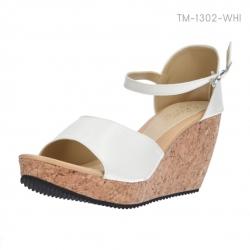 รองเท้าส้นเตารีด รัดส้น พื้นลายไม้ (สีขาว )
