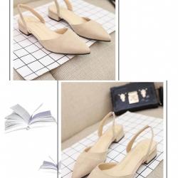 รองเท้าส้นเตี้ยหัวแหลม ส้นตอก ไม่สูงมาก G-1218-APR [สีแอปริคอท]