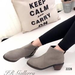 รองเท้าบูทผู้หญิง ส้นสูง แต่งซิปข้าง (สีเทา )