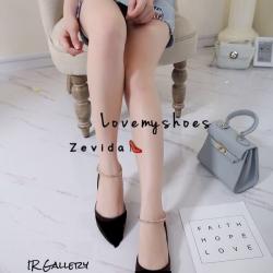 รองเท้าคัทชูส้นเตี้ยสีดำ หัวแหลม ผ้ากำมะหยี่ (สีดำ )