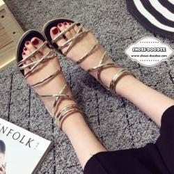 รองเท้าแตะรัดส้นแบบมีซิปด้านหลัง (สีทอง)