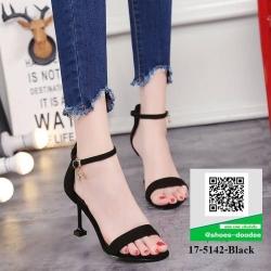 รองเท้าส้นเข็มสีดำ รัดส้น ดีไซน์ฐานที่ส้นดูเก๋ (สีดำ )