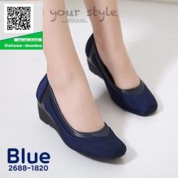 รองเท้าคัทชูส้นเตารีดสีน้ำเงิน แต่งขอบหนังนิ่ม (สีน้ำเงิน )