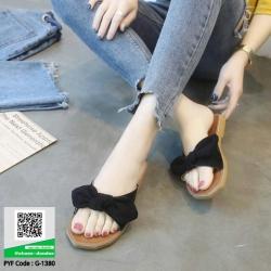 รองเท้าแตะสวมแต่งโบ G-1380-BLK [สีดำ]