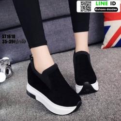รองเท้าผ้าใบเสริมส้นแบบสวม ST1618-BLK [สีBLK]
