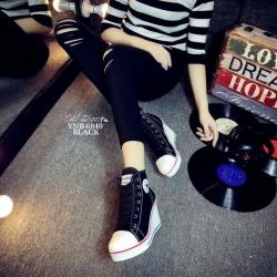 รองเท้าผ้าใบหุ้มข้อส้นเตารีดสีดำ ซิปข้าง Style Converse (สีดำ )