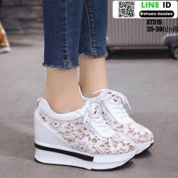 รองเท้าผ้าใบเสริมส้น งานนำเข้า100% ST315-WHI [สีขาว]