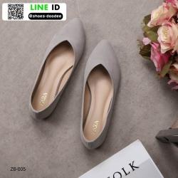 รองเท้าคัชชูส้นเตี้ยงานกำมะหยี่ Z6-005C6-GRY [สีเทา]