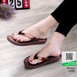 รองเท้าหูคีบพื้นเตี้ย งานสุขภาพ บุนวม 2300-น้ำตาล [สีน้ำตาล ]