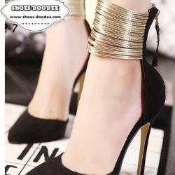 รองเท้าคัทชูส้นเข็มสีดำ หรู วัสดุผ้า แต่งซิปหลัง ใส่ง่าย เว่อร์ ตกแต่งเสริมคาดข้อเท้าด้วยหนังปรอททอง สูง4นิ้ว