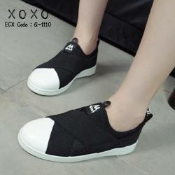 รองเท้าผ้าใบแฟชั่นสีดำ แบบสวม หน้ายางไขว้ ผ้าแคนวาส (สีดำ )