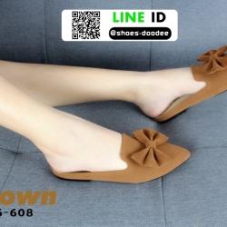 รองเท้าส้นเตี้ย แบบสวม เปิดส้น B6-608-BWN [สีน้ำตาล]