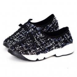 รองเท้าผ้าใบสีดำ สินค้านำเข้า งานแนวดิออร์ ผ้าแคนวาส ลายดำ ขอบยางยืด เสริมส้น1นิ้ว